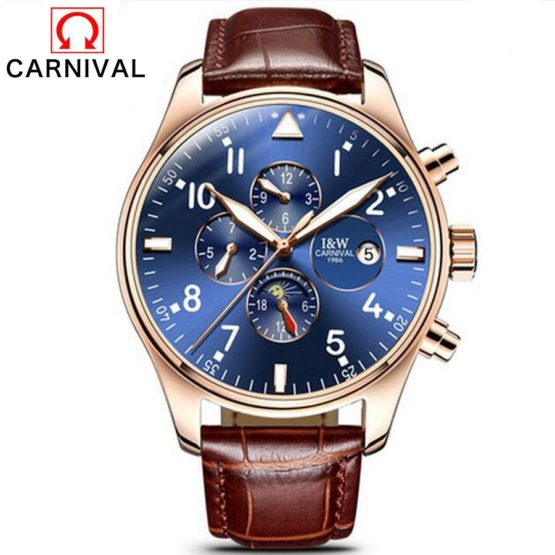 Carnival Top Brand Luxury Mens Watches Sapphire Fashion Mechanical Watch