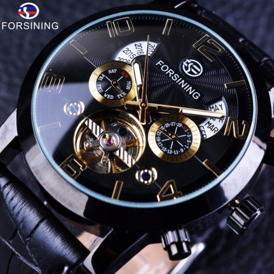 Forsining Tourbillion Black Golden Wave Dial Fashion Casual Design Men Watch