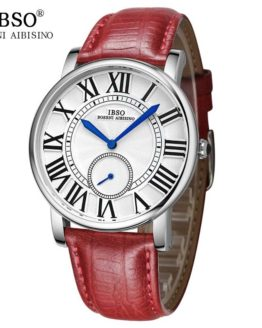 IBSO Vintage Red Women Genuine Leather Watches Top Brand Luxury
