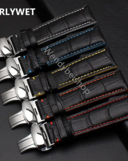 18 20 22mm Man Women Real Calf Leather Stitches Wrist Watch Band Strap
