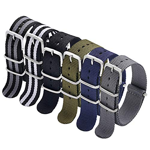 NATO Strap 6 Packs 18mm Watch Band Nylon Replacement Watch Straps