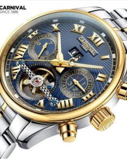 Carnival tourbillon diving sport fashion mechanical watch men leather strap