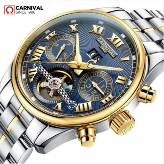 Carnival tourbillon diving sport fashion mechanical watch men leather strap