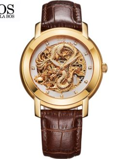 ANGELA BOS Chinese Dragon 3D Carving Gold Skeleton Automatic Mechanical Watch