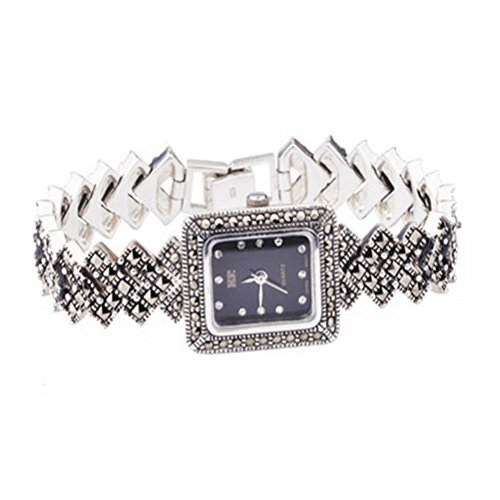Sterling Silver Wristwatch Silver Bracelet with Marcasite Luxury Vintage Jewelry