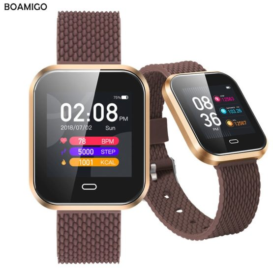 Smartwatch For Android IOS Phone BOAMIGO Smart Bracelet Heart Rate