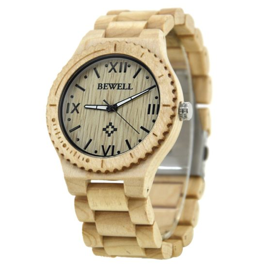 BEWELL Wood Men Quartz Wrist Watches With Roman Numerals