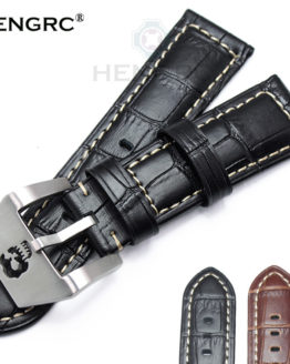 HENGRC Watchbands 22mm 24mm Brown Black Genuine Leather