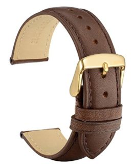 WOCCI 18mm Watch Band with Gold Buckle, Dark Brown Vintage Leather