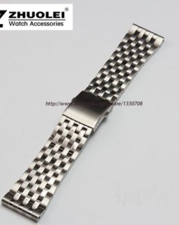 24mm 26mm 28mm 30mm Silver Stainless Steel Mens Metal Bracelet Watch Band