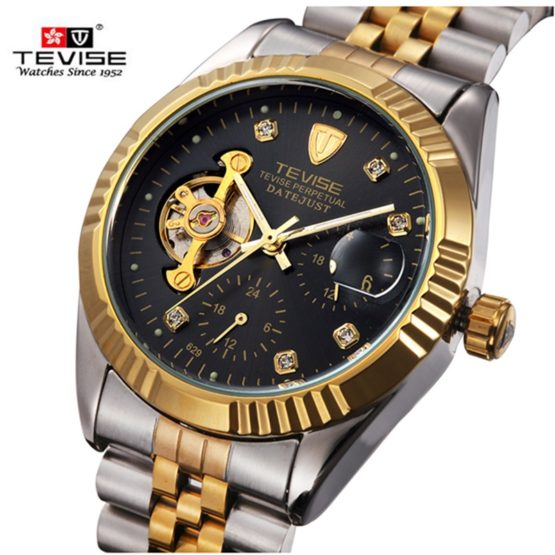Brand TEVISE Automatic Mechanical Watch Men Luxury Steel Wrist Watch