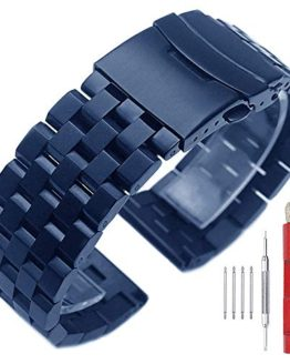 Dark Blue Stainless Steel 20mm Watch Band Metal Strap Watch Bands