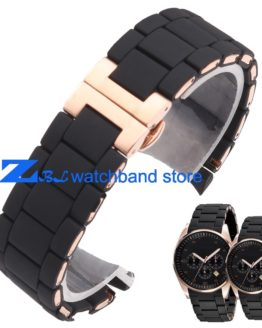 The Silicone Rubber Watchband Rose gold in Black watch band strap
