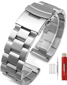 Silver/Black Stainless Steel Watch Bands Brushed Finish Watch Strap