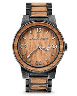 Original Grain Koa Stonewashed Wood Watch - Barrel Collection Analog Wrist Watch - Japanese Quartz Movement - Wood and Stainless Steel - Water Resistant - Hawaiian Koa Wood Watches for Men - 47MM