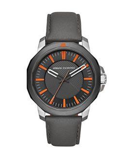 Armani Exchange Men's Stainless Steel Analog-Quartz Watch with Leather Calfskin Strap, Grey, 22 (Model: AX1904)