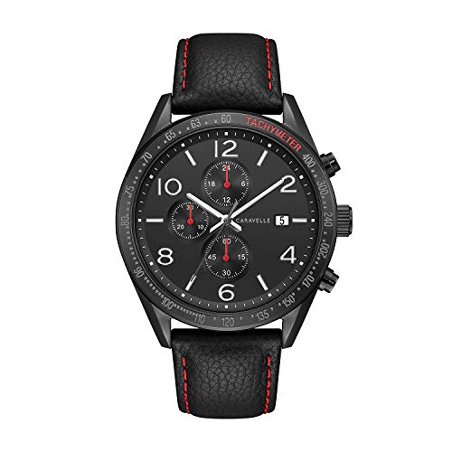 Caravelle by Bulova Black Leather Strap Dress Watch (Model: 45B153)