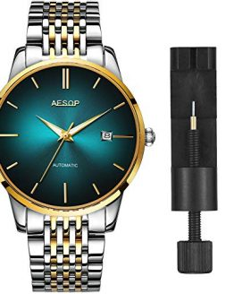 Mens Luxury Green Faced Watches for Business, Automatic Mechanical Silver Stainless Steel Band Wrist Watches and Date Waterproof Watch, Classic Father Husband Christmas Gift New Watches on Sale