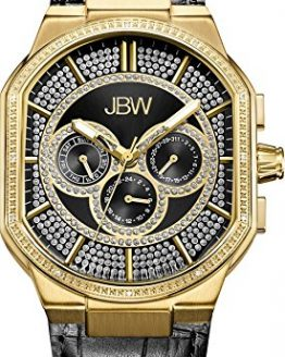 JBW Luxury Men's Orion 0.12 Carat Diamond Wrist Watch with Leather Bracelet