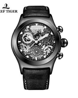 Reef Tiger Unique Black Wrist Watch with Date Skeleton Dial Chronograph RGA792