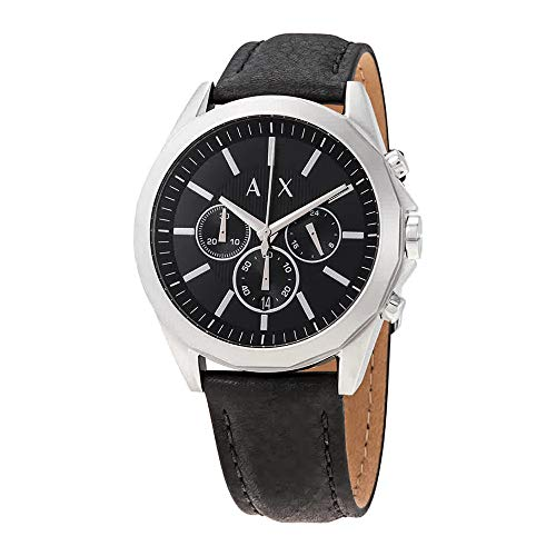 Armani Exchange Men's AX2604 Stainless Steel Black Leather Watch