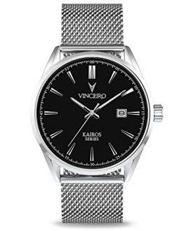 Vincero Luxury Men's Kairos Wrist Watch - Mesh Watch Band - 42mm Analog Watch - Japanese Quartz Movement (Black/Silver)
