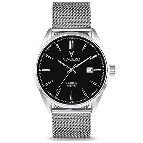 Vincero Luxury Men's Kairos Wrist Watch - Mesh Watch Band - 42mm Analog Watch - Japanese Quartz Movement (Black/Silver)