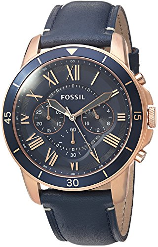 Fossil Men's Grant Sport Quartz Stainless Steel and leather Dress Watch Color: Rose gold, Navy (Model: FS5237)