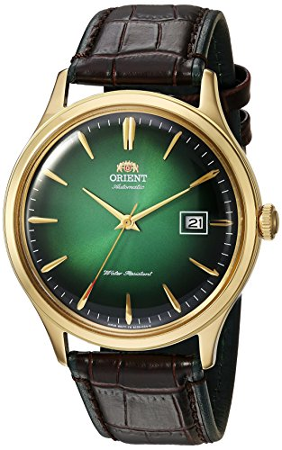 Orient Men's Bambino Version 4 Stainless Steel Japanese-Automatic Watch with Leather Calfskin Strap, Black, 22 (Model: FAC08002F0)