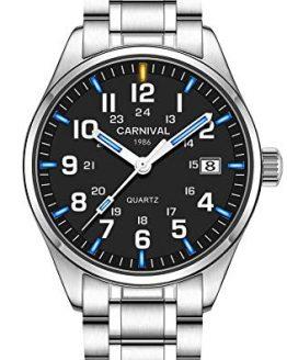 PASOY Men's Luminous Watch Blue Light Waterproof Silver Stainless Steel Quartz Wrist Watches T25
