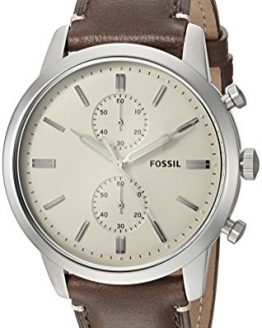 Fossil Men's 44mm Townsman Stainless Steel Quartz Watch with Leather Calfskin Strap, Brown, 22 (Model: FS5350)