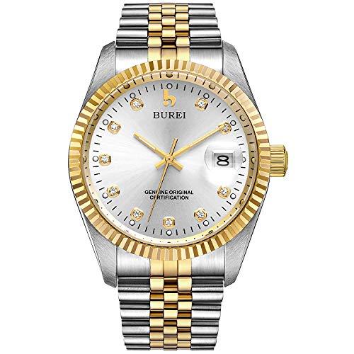 BUREI Two Tones Stainless Steel Dress Wrist Watch