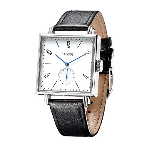 FEICE Bauhaus Watch Men's Automatic Watch Minimalist Square Wrist Watch Stainless Steel Leather Bands Sapphire Mirror Mechanical Watches for Women Unisex #FM301 (Black)