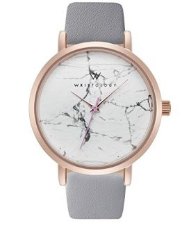 WRISTOLOGY Olivia Womens Rose Gold Marble Wrist Watch Grey Leather Band