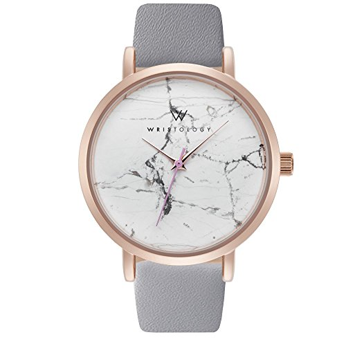 WRISTOLOGY Olivia Womens Rose Gold Marble Wrist Watch Grey Leather Band
