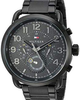 Tommy Hilfiger Men's Quartz Watch with Stainless-Steel Strap, Black, 21 (Model: 1791423)
