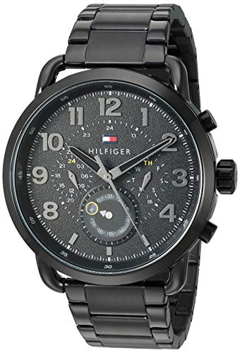 Tommy Hilfiger Men's Quartz Watch with Stainless-Steel Strap, Black, 21 (Model: 1791423)