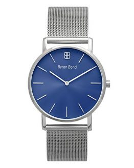 Byron Bond Mark 1 - Luxury 38mm Wrist Watches for Women & Men (Paddington - Silver Case with Midnight Blue Dial and Silver Mesh Strap)