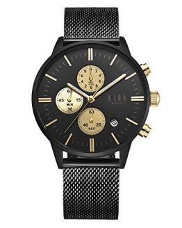 KIRA-WATCHES Luxury Wrist Watch for Men - 316L Stainless Steel Dial & Milanese Mesh Strap, 3 Stopwatches 42mm Chronograph Analog Watches Black & Gold - Japanese Quartz Movement Watch