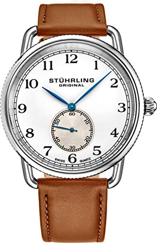 Stuhrling Original Classic Cuvette Wrist Watch for Men - Swiss Quartz Analog White Dial with Seconds Sub-dial Brown Leather Strap Mens Designer Watch 207.01