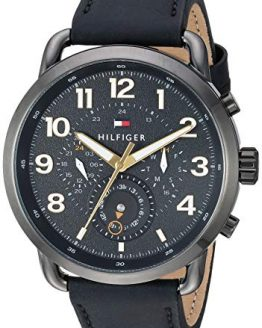 Tommy Hilfiger Men's Casual Stainless Steel Quartz Watch with Leather Strap, Black, 22 (Model: 1791426)