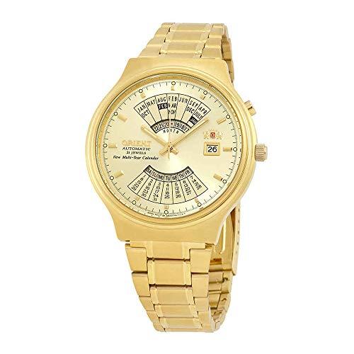 Orient Perpetual Calendar World Time Automatic Gold Dial Men's Watch FEU00008CW