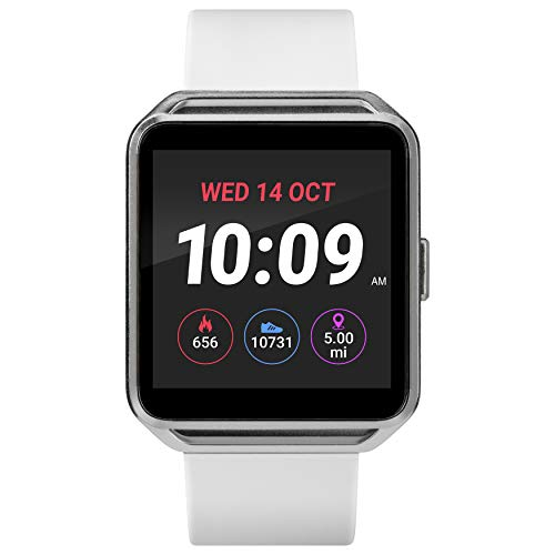 iConnect by Timex Silver-Tone Square Smartwatch, White Silicone Strap