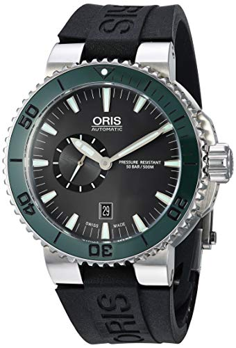 Oris Automatic Black Dial Stainless Steel Black Rubber Mens Watch 743-7673-4157