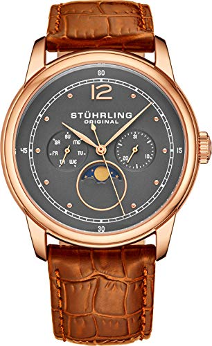 Stuhrling Original Mens MoonPhase Dress Watch - Stainless Steel Case and Brown Leather Band - Grey Analog Dial with Day of The Week and Date Celestia Mens Watches Collection