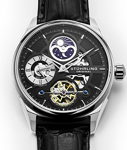 Stuhrling Original Men's 657.02 Delphi Stainless Steel Automatic Self-Wind Dual Time AM/PM Indicator Watch with Black Leather Band