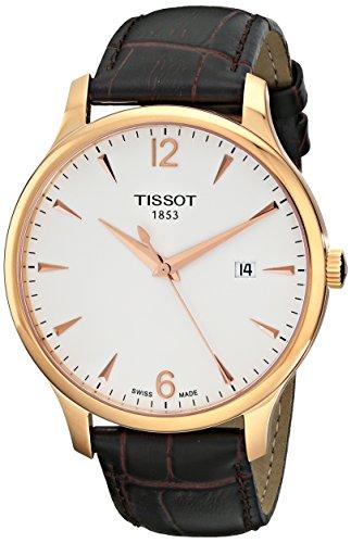 Tissot Men's Analog Quartz Brown Leather Strap Silver Dial Watch