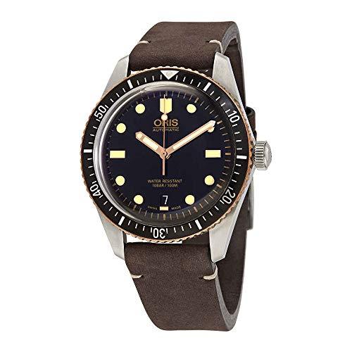 Oris Divers Sixty-Five Black Dial Leather Strap Men's Watch 73377074354LSDRKBRN