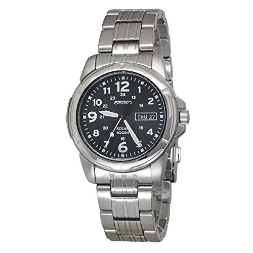 Seiko Men's Analogue Solar Powered Watch with Stainless Steel Strap SNE095P1