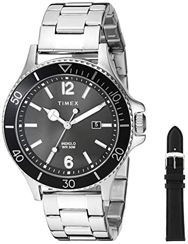 Timex Men's TWG019700 Harborside Silver-Tone/Black Stainless Steel Bracelet Watch Gift Set + Black Genuine Leather Strap